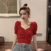 針織上衣小款上衣女短款t恤夏季v領收腰緊身泡泡袖針織短袖女裝2020新款潮 JUST M