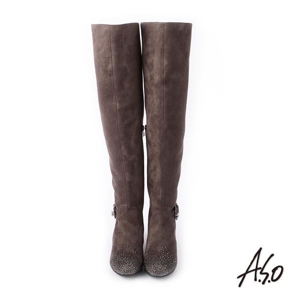 A.S.O 簡約主義 釦環裝飾細緻絨面長靴