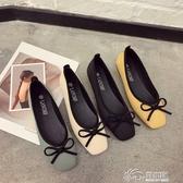 豆豆鞋 秋季韓版復古溫柔蝴蝶結淺口芭蕾鞋方頭單鞋平底豆豆鞋女鞋軟底潮