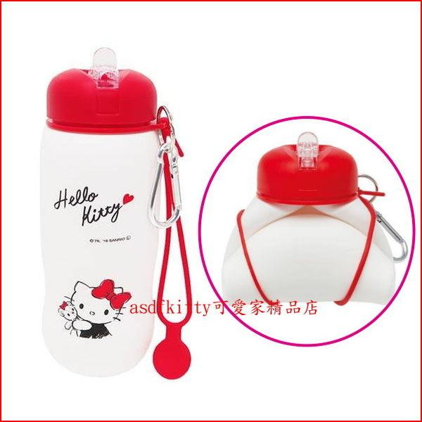 asdfkitty可愛家☆KITTY輕量矽膠水壺/水瓶-500ML-可折疊.好收納.隨身好攜帶-日本正版商品