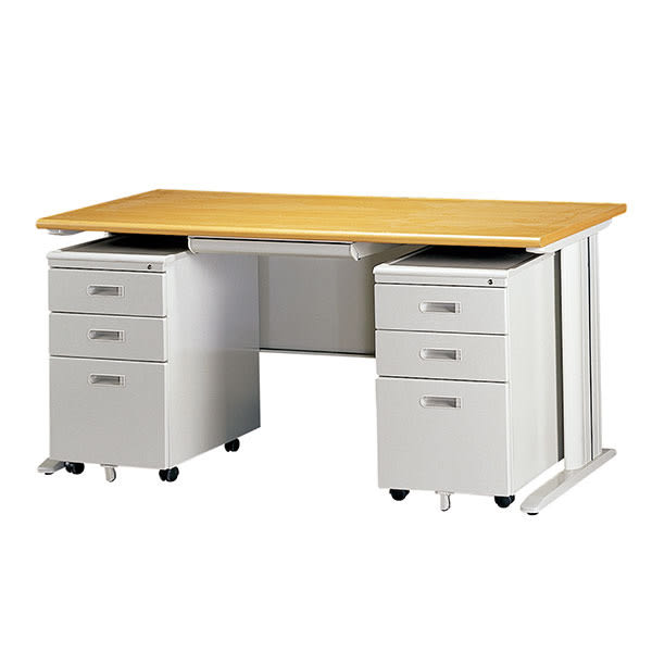 【YUDA】160-CD木面灰體辦公桌(ABS中抽+活動櫃2個)905色 4件組/辦公桌/寫字桌