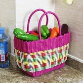 塑膠編織購物籃買菜籃子手提籃野餐籃子寵物籃洗浴筐洗澡籃收納筐 港仔會社