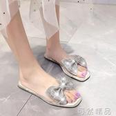 拖鞋拖鞋女夏外穿時尚百搭網紅新款少女心ins透明水鑚蝴蝶結涼拖 可然精品