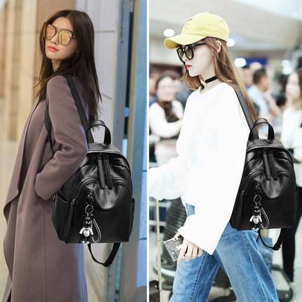 後背包女新款潮正韓百搭時尚pu軟皮女士小背包書包女包包