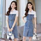 牛仔洋裝 2019夏季新款休閒顯瘦假兩件套女短袖條紋襯衫拼接潮 df15437【大尺碼女王】