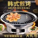 燒烤架 圓形燒燒烤架戶外木炭全套不銹鋼韓式無煙家用商用燒烤架烤肉鍋煎盤 YDL