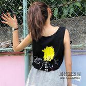 ins短袖T恤女韓國寬鬆嘻哈蹦迪怪味少女bf無袖背心上衣服