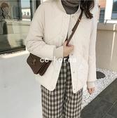 休閒菱格紋保暖鋪棉棒球外套 CC KOREA ~ Q25968