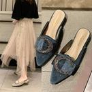 港風拖鞋女外穿夏天潮新款百搭粗跟包頭半拖鞋時尚半高跟女鞋「時尚彩紅屋」