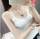 西裝內搭 美背小吊帶網紅爆款設計感小眾背心女夏外穿西裝內搭打底上衣蕾絲 韓國時尚週
