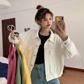 牛仔外套女韓版寬松短款白色棒球服學生工裝長袖牛仔夾克外套女