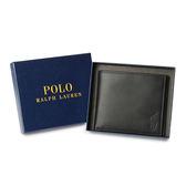 RALPH LAUREN POLO 經典壓印馬球LOGO素面皮革短夾(深藍色)780215-2