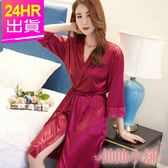 性感罩衫 酒紅 婉約微醺 外罩一件式連身綁帶睡衣 仙仙小舖