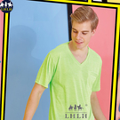 運動排汗短袖T恤 v領 路跑 慢跑 混織布 螢光綠色