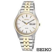 SEIKO精工  都會紳士風雙色調太陽能石英腕錶 SNE032P1