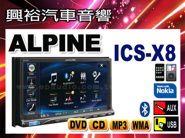 【ALPINE】 X8 單片DVD/IPOD/IPHONE/AUX/USB/APP/藍芽主機 ICS-X8