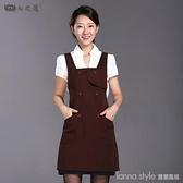 韓版時尚餐廳廚房家用咖啡廳服務員純棉工作服女圍裙訂製logo印字 新品全館85折