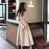 夏季新款韓版木耳邊吊帶背心裙女學生粉色格子連身裙中長款裙 創意家居生活館