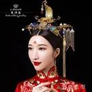 限定款奢華復古中式新娘造型古裝髮飾景泰藍玉石古典頭飾秀禾服配飾品