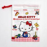 Sanrio HELLO KITTY日本製棉質縮口杯袋(手繪玩具)★funbox★SKATER_S40158