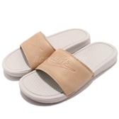 Nike 拖鞋 Wmns Benassi JDI BP 咖啡 灰 皮革鞋面 涼拖鞋 女鞋 男鞋 GD拖【PUMP306】 AO4642-200