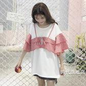 拼接假兩件2018夏季新品正韓學院風百搭格子拼接假兩件喇叭袖T恤女上衣學生(一件免運)