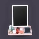 鏡子 單面可調儲物帶燈補光化妝鏡補光燈桌上鏡子桌鏡實用燈帶梳妝宿舍