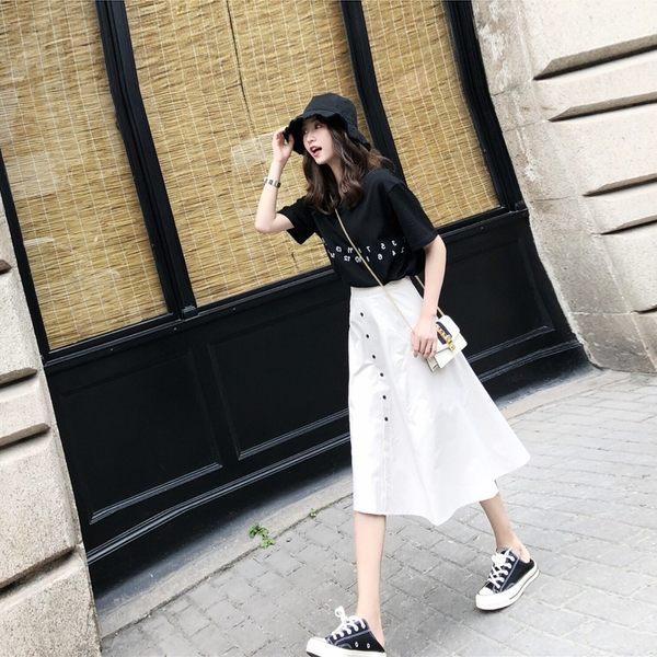 VK旗艦店 韓系復古氣質印花T恤純色半裙套裝短袖裙裝
