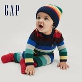 Gap嬰兒 棉質撞色條紋針織包屁衣 650267-海軍淺藍