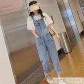 吊帶褲 牛仔背帶褲女夏新款韓版寬鬆泫雅風洋氣減齡網紅小個子直筒九分褲 夏季新品