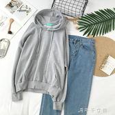 日系少女拉繩連帽連帽T恤 純色 學院風袋鼠口袋上衣韓版百搭長袖  「千千女鞋」