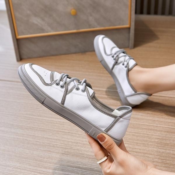 真皮手工女鞋 百搭小白鞋 系帶運動休閒鞋/2色-夢想家-標準碼-0412