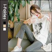 印花棉質短袖T恤 上衣★ifairies【68410】