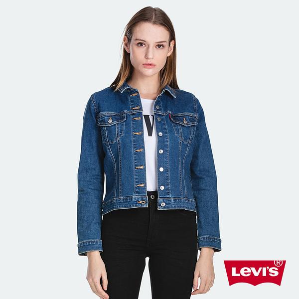 Levis 女款 修身牛仔外套 / Revel 極塑形顯瘦版型 / 中短版 / 超彈力布料 / 經典藍