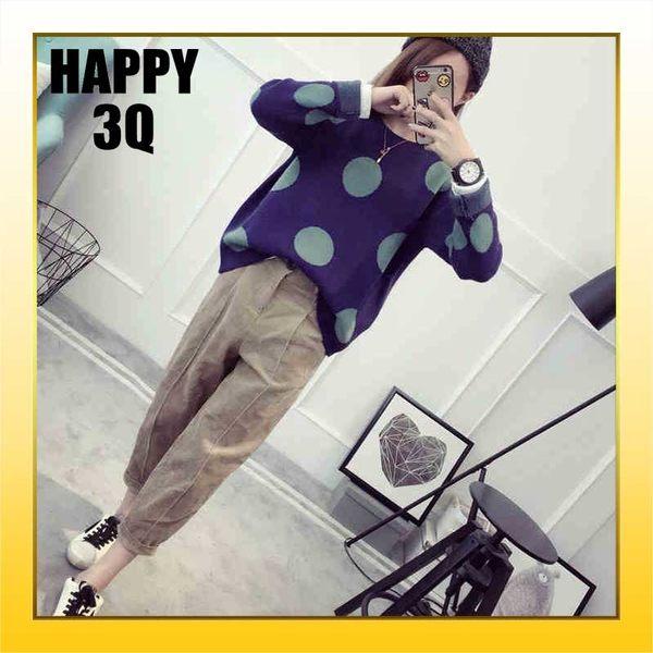 簡約長袖圓形滿版點點毛衣圓領針織衫-咖/藍/粉【AAA0878】預購
