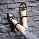 花朵涼鞋女仙女風 新款夏季百搭ins潮時尚厚底女鞋乖乖晚晚鞋 降價兩天