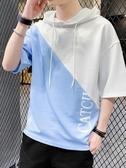 連帽T恤 男士短袖t恤夏季潮牌潮流連帽衣服寬鬆七分半袖五分體恤 夏季上新