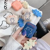 韓國ins可愛卡通呼啦圈小熊適用AirPods保護套蘋果1/2/Pro硅膠女款潮軟創意情侶吊墜掛飾硅膠藍芽無
