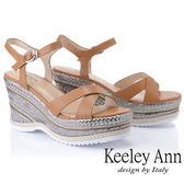 ★2019春夏★Keeley Ann全真皮 編織撞色交叉楔型涼鞋(棕色) -Ann系列