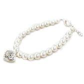 貝珍珠與透明水鑽心手鍊