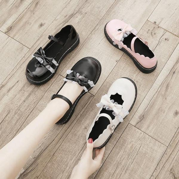 娃娃鞋 洛麗塔ins小皮鞋女新款日系可愛淺口蕾絲蝴蝶結軟妹lolita - 古梵希