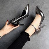 夏季歐美亮面銀色高跟鞋細跟槍色尖頭側空涼鞋女鞋 巴黎時尚