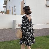 漂亮小媽咪 減齡 碎花 V領洋裝【D1935】兩穿 寬鬆 雪紡裙 中袖 洋裝 喇叭袖 雪紡洋裝 孕婦裝