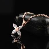 項鍊 玫瑰金 水晶純銀吊墜-簡約花朵生日情人節禮物女飾品2色73dw107【時尚巴黎】