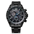 CITIZEN/星辰 光動能電波錶 三眼計時手錶(CB5835-83F) 黑殼/45mm