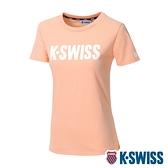 【超取】K-SWISS Contrast Logo Tee棉質吸排T恤-女-粉橘