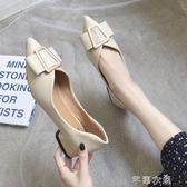 小皮鞋方跟單鞋女夏季新款尖頭粗跟淺口小皮鞋網紅百搭中跟職業女鞋 交換禮物