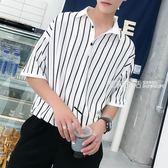 短袖襯衫 男士五分袖襯衫韓版潮流寬鬆條紋襯衣夏季短袖男港風情侶休閒半袖·夏茉生活