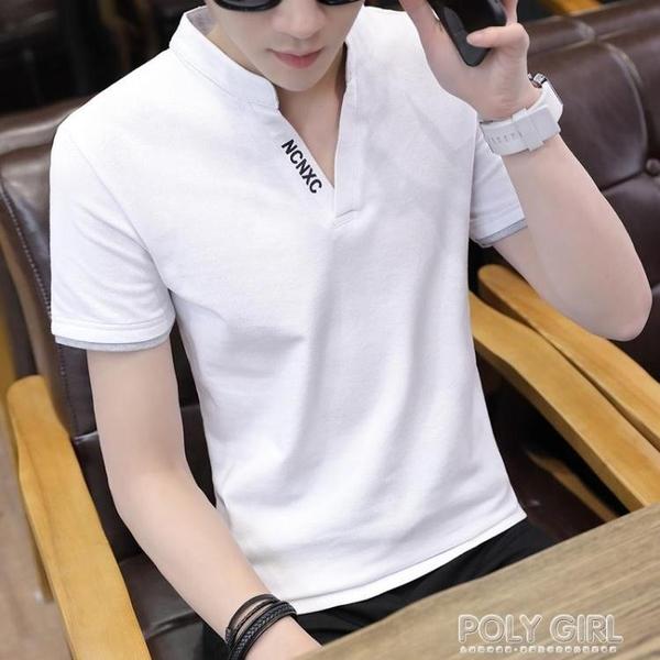 2021夏季男士短袖t恤潮流大碼立領polo衫v領半袖體恤打底衫男衣服 夏季新品