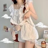 睡衣女夏季短袖薄款寬鬆兩件套大碼女士胖mm可外春秋網紅款家居服 夏季狂歡